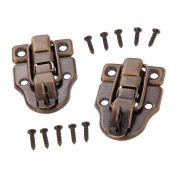 Dophee 2Pcs 5.9cm x 4cm Antique Bronze Retro Style Iron Toggle Fit Case Box Chest Trunk Latch Hasps