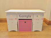 Kids Table & Chairs Set With Storage Box Personalised in Pink Bunting