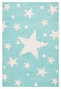Kids rug Happy Rugs STARS mint/white 100x160cm