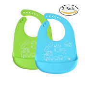 INCHANT Waterproof Silicone Bib Easily Wipes Clean! Comfortable Soft Baby Bibs Keep Stains Off! Spend Less Time Cleaning after Meals with Kids or Toddlers! Set of 2 Colours