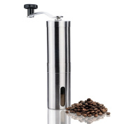 Manual Coffee Grinder - Conical Ceramic Burr Mill, Stainless Steel Hand Burr Coffee Grinder by ZZM with Travel Bag