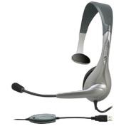 Cyber Acoustics AC-840 Usb Mono Headset Internet Communication & Boom Mic - Over-the-head