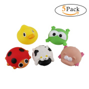 5 Pack Squeeze Farm Buddies Rubber Animals Bath Floating Toys Little Squirt Baby Shower Dolls