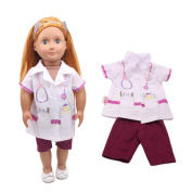 Dinglong Our Generation 46cm American Girl Doll Clothing Set Doctor Nurse Clothes + Trouser, DIY Dolls Dress Up Outfits, Children Educational Pretend Play Toys, Gifts for Baby Girls