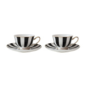 Bombay Duck Stripy Black White and Gold Mini Tea Cup and Saucer