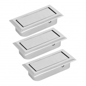 sourcingmap Home Office Dawer Dresser Metal Hidden Pull Handle Grip Silver Tone 3pcs