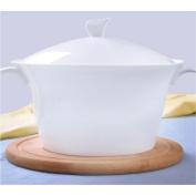 MXJ61 Pure White Bone China Tableware 20cm Soup Pot Soup Basin Soup Bowl 2250ml