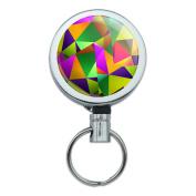 Triangle Multicolor Retractable Belt Clip Badge Key Holder