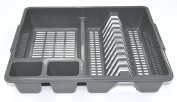 GREY DRAINING BOARD LARGE PLASTIC DRAINER FOR STACKING PLATES AND BOWLS ETC..