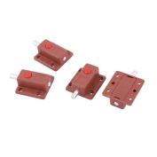 Plastic Closet Latch Sliding Lock Barrel Bolt Brick Red 5.1cm Length 4 Pcs