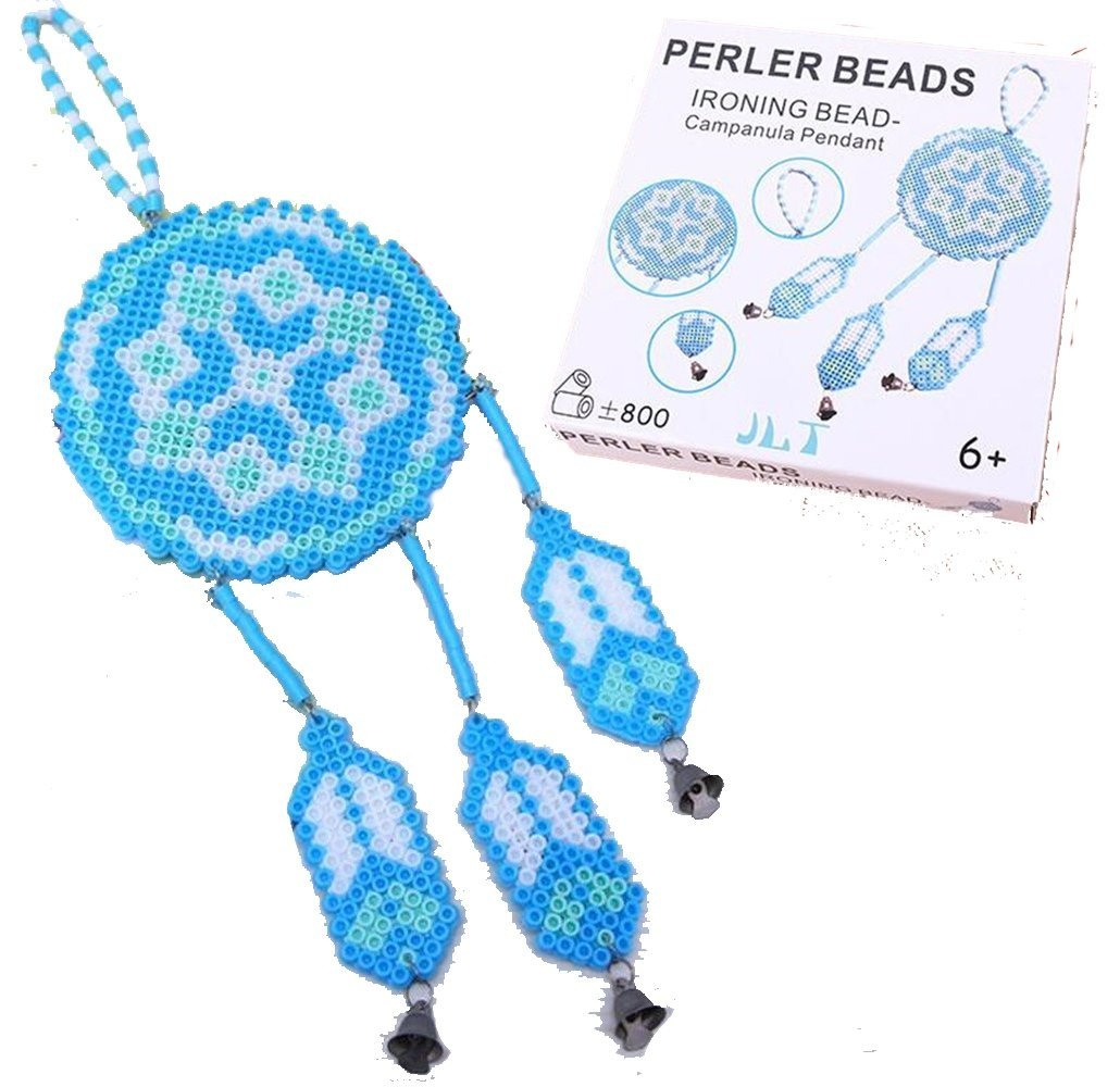 DOER Hand Craft Creative Assemble 3D Fuse Beads Kit – DIY Learning  Stereoscopic Puzzle Aeolian Bells/ Dreamcatcher – Fun Fusion Fuse Beans Set  (Blue)