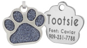 Laser Engraving Glitter Paw Pet ID Tags Custom Personalised for Dog & Cat Paw Print Tag