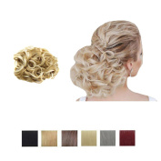 PrettyWit Hair Bun Extension Short Messy Curly Easy Stretch Hair Combs Clip in Ponytail Extension Scrunchie Chignon Hairpieces