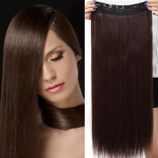 80cm One Piece Clip in Hair Extensions Straight Hair Pieces 5 Clips Soft Natural Look for Women Beauty, Medium Brown