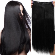 80cm One Piece Clip in Hair Extensions Straight Hair Pieces 5 Clips Soft Natural Look for Women Beauty, Black