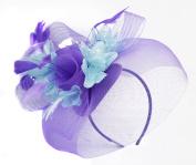 Caprilite Purple Feather Flower Fascinator Hat Veil Net Headband Clip Ascot Derby Races Wedding …