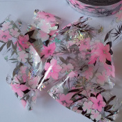 PINK FLOWERS Clear Nail Art Holographic Foil Decoration Wrap Transfer