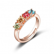 AIUIN Elegant Colourful Gems Ring Crystal Adjustable Open Rings Wedding Jewellery for Women X 1Pcs