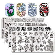 Born Pretty 4Pcs Nail Art Stamping Plate Set Flower Water Marble Geometrical Image Template Manicure Print Tool Kit