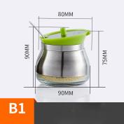 Condiment Box Creative Seasoning Jar Covered Salt Shaker Set Ceramic Sugar Bowl Kitchen Supplies Appliances Seasoning Bottles,Green,Diameter 90mm