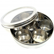 Evelyn Living Stainless Steel Indian 7 Spice Tin Box Tandoori Masala Dabba Spices Box Storage
