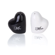 W.Air Heart-Shape Ceramic Mr. with Mrs. Salt Pepper Shakers Canister Set Wedding Party Favours