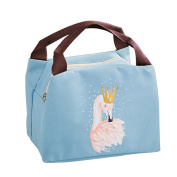 Qearly Flamingo Reusable Zip Closure Bento Bag Cooler Lunch Bag Oxford Tote Insulated Picnic Bag-Blue
