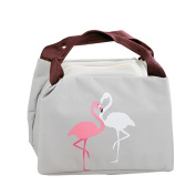 Qearly Flamingo Reusable Zip Closure Bento Bag Cooler Lunch Bag Oxford Tote Insulated Picnic Bag-Grey