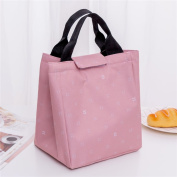 Qearly Leaves Pattern Tote Bento Bag Oxford Insulated Lunch Bag Waterproof Picnic Bag-Pink