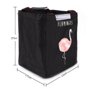 Qearly Oxford Cloth Flamingo Design Outdoor Lunch Bag Insulated Picnic Bag Tote Bento Bag-Black