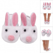 Dolls Shoes,LUVERSCO Lovely Plush Rabbit Slipper Shoes For 46cm Our Generation American Girl Doll Mini Shoes Dollhouse Fridge Magnet Kids Bath Music Adult Developmental Baby Toys
