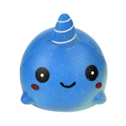 SEWORLD 9CM Soft Whale Cartoon Squishy Slow Rising Squeeze Toy Phone Straps Ballchains