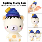 13cm Squishy Poo Starry Bear Squeeze Slow Rising Fun Toy Gift Phone Strap Decor Stress Relieves Decompression Toys Kawaii Style Cartoon Toys Soft Toys