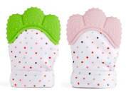 Hillento Teething Mitten for Infants, Self-Soothing Pain Relief and Teething Glove BPA FREE Safe Food Grade Teething Mitt, Set of 2, Green and Pink