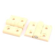 4.6cmx6cm Plastic Folding Cabinet Gate Closet Door Hinge 2 Pcs White