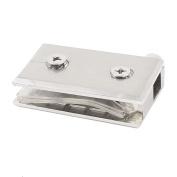 Aluminium Pivot Glass Door Clamp Hinge Silver Tone 63mm Long