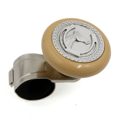 Durable Plastic Metal Power Handle Steering Wheel Knob w Horse Pattern Beige Silver Tone
