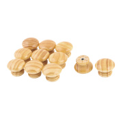 Dormitory Wood Mushroom Design Door Dresser Handle Pull Knob Light Brown 11pcs