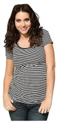 Ripe Maternity Striped Tube Tee - Black/White-XXL