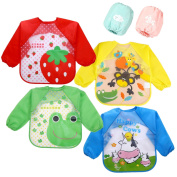 Skroad 4 Pcs Long Sleeve Bibs for Baby Kids with 2 Pcs Oversleeves, Unisex Waterproof Feeding Bibs for Infant Toddler 6 Months to 3 Years