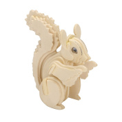 TOYMYTOY 3D Wooden Animal Puzzles Squirrel 3D DIY Assembly Model Toy Educational Toy for Kids and Adults