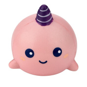 Hmeng Squishy 8cm Cute Pink Unicorn Whale Cartoon Scented Squishy Charm Slow Rising Squeeze Toy Charm