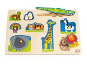 Hape Wild Animals Kid's Wooden Peg Puzzle