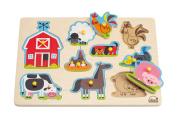 Hape Farm Kid's Wooden Peg Puzzle