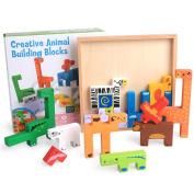 Wooden Stacking Building Blocks Puzzle Game Toy - Mumustar Cartoon Animal Wood Tangram Board Jigsaw 3D Brain Teasers Colour Teaching Aids Tool