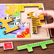 Qiyun Jigsaw Puzzles Creative Animals Jigsaw Puzzles Large Size Brain Teaser Wooden Toys for Children