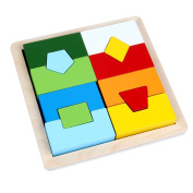 B & A Julian Geometric Stacking Puzzle Game Puzzle Wooden Inlay Puzzle Different Shapes and Sizes for Ages 12 Months
