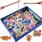Fishing Toy, Hotsellhome 32Pcs Fish Wooden Magnetic Fishing Toy Set Fish Game Early Learning Tool Educational Toy Wisdom Development Puzzle Toy Child Gift