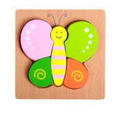 TOYMYTOY Wooden Shape Puzzle Butterfly Sorting Puzzle Toy for Toddler Kids