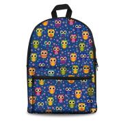 Nopersonality Fashion Artist Owl Design School Backpack Canvas Bagpack for Child Kids